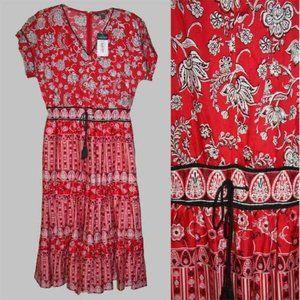 Ralph Lauren Red Floral Tiered Boho Maxi Dress